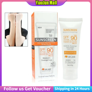 YiaoJun 1 PCS 40g sunscreen whitening isolation SPF90 sunscreen SPF90 + whitening sunscreen [kotak putih] thumbnail