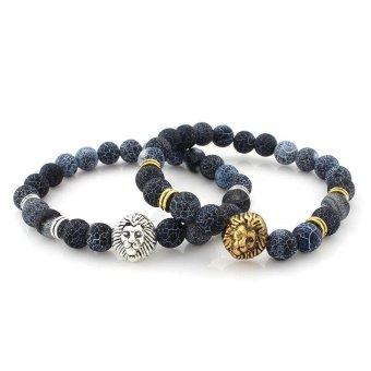 1 Pair Lion Head Buddha Beads Bracelet Bangle for Lovers Couple Gift - intl
