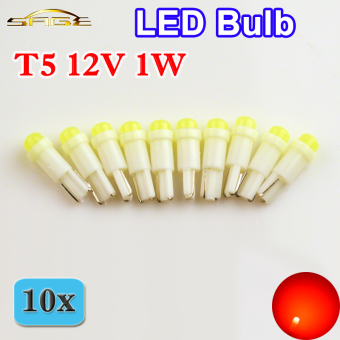10 PCS 286 T5 1 LED Bulb SMD Ceramic Car Dashboard Light Auto GaugeLamp (White) - intl