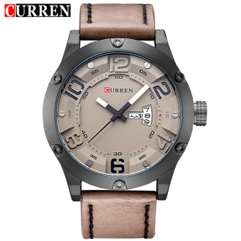 [100% Genuine]CURREN 8251 Men's Round Analog Wrist Watch with ThreeDecorated Sub-Dial, Alloy Case & Faux Leather Band For Men