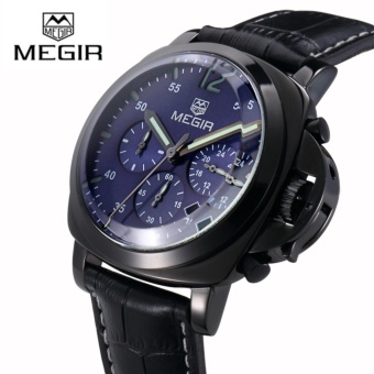 ?100% Original?Megir 3006G Mens Watches Chronograph Quartz Wrist Watch With Alloy Case And Genuine Leather Band - intl
