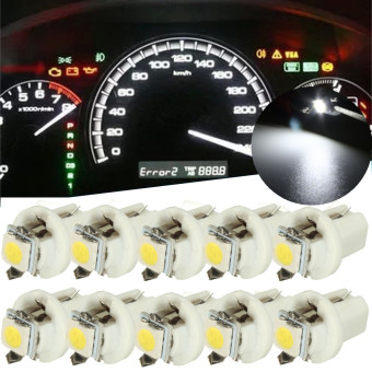 10PCS T5 B8.5D Car Gauge 5050 1SMD LED Speedo Dashboard Dash Side Light Bulb 12V White - Intl