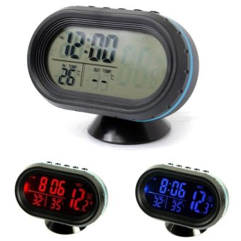 12-24V Digital Auto LCD Display Backlight Temperature ThermometerCar Voltmeter Digital Tester Monitor Meter Voltage Alarm Clock -intl