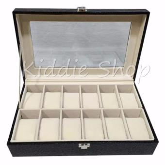 12 SLOTS WATCH ORGANIZER/WATCH BOX (BLACK)