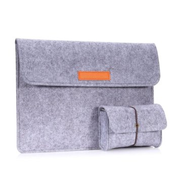 13.3 Inch Laptop / Tablet Sleeve Bag, Felt Protective Carrying Case Cover for MacBook Air / Pro 13.3 Inch / iPad Pro 12.9 Inch Asus ZenBook Flip(UX360CA) 13.3 Inch, with Small Felt Bag, Light GRAY - intl