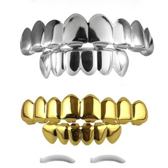 14K Teeth Grillz Top & Bottom Grill Set Halloween Costume NEW HIGH QUALITY!! - intl