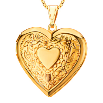 18K Gold Plated Fancy Locket Fashion vintage Jewelry WholesaleWomen Gift New Romantic Heart Necklaces Pendants p30041 - Intl