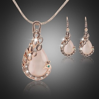 18K Real Gold Plated Peacock Crystal Opal Jewelry Sets NecklaceEarrings - intl