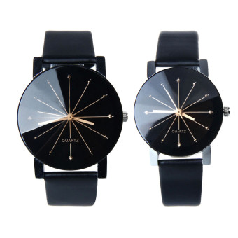 1Pair Men and Women Quartz Dial Clock Leather Wrist Watch Black