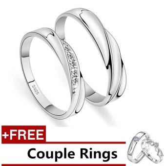 2 Pcs Adjustable Rings Couple Rings Jewellry 925 Silver Adjustable Lovers Rings E004 + Free Couple Rings E005 [ Buy 1 Get 1 Free] - intl Price Philippines