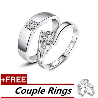 2 Pcs Adjustable Rings Couple Rings Jewellry 925 Silver Adjustable Lovers Rings E007 + Free Couple Rings E010 [ Buy 1 Get 1 Free] - intl Price Philippines