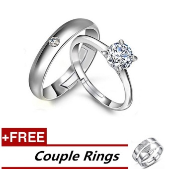 2 Pcs Adjustable Rings Couple Rings Jewellry 925 Silver Adjustable Lovers Rings E019 + Free Couple Rings E026 [ Buy 1 Get 1 Free] - intl Price Philippines