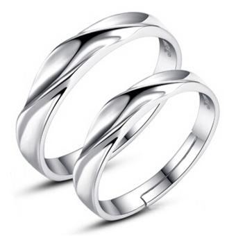 2 PCS Adjustable Rings Couple Rings Jewellry 925 Silver AdjustableLovers Rings E008 - intl Price Philippines