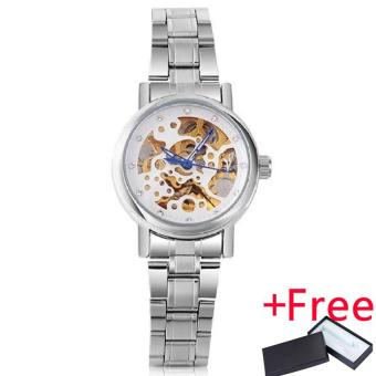 2016 WINNER watches women lady fashion brand rhinestone skeleton automatic mechanical wrist watch full gold steel female clock