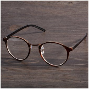 2017 Fashion Eyeglasses Frame Optical Reading Eye plain Glasses Coloured (Tawny) - intl