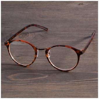 2017 Fashion Eyeglasses Frame Optical Reading Eye plain Glasses (Leopard) - intl