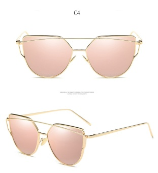 2017 Mirror Flat Women Cat Eye Sunglasses Classic Brand DesignerTwin-Beams Alloy Female Vintage Sun Glasses for Women6627 - intl