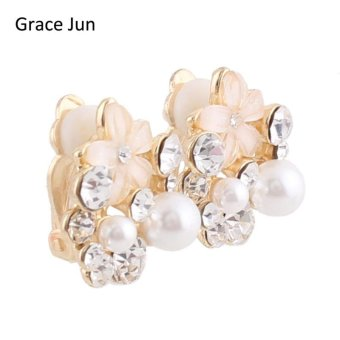 2017 New Design Bridal Rhinestone Crystal OPal Small Flower ShapeClip on Earrings Non Piercing for Girls Ear Clip Korea StyleEarrings - intl