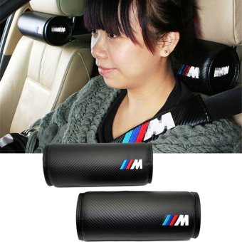 2Pcs/Set Design leather Hole-digging Black Car Headrest SuppliesNeck Auto Safety Pillow For BMW E30 E34 E39 E46 E60 E90 F10 F30 -intl