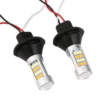 2X1156 P21W BA15S 50W 42SMD DRL Turn Signals Tail Reverse LED LightWhite/Amber - intl