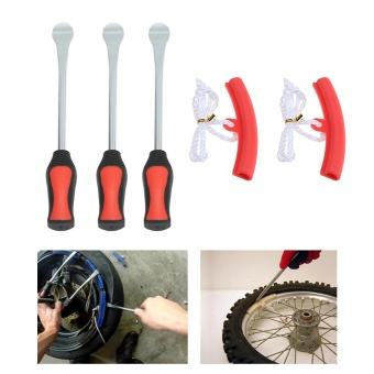 3 Tire Lever Tool Spoon + 2 Wheel Rim Protectors Tool Kit for Motorcycle Bike Tire Removing - intl