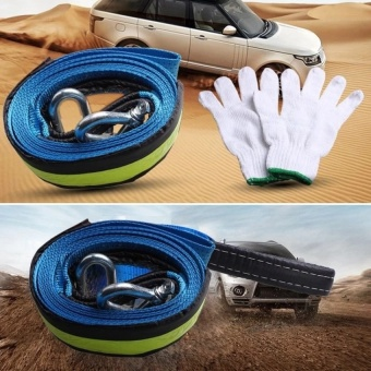 5M 8T Car Towing Rope Strap Tow Cable with Hooks Emergency HeavyDuty 8 Tons   - intl