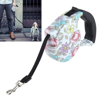 5m Peony Pattern Flexible Retractable Dog / Cat Leash For Daily Walking - intl
