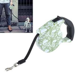 5m Skull Pattern Flexible Retractable Dog / Cat Leash For Daily Walking - intl
