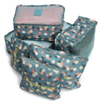 6Pcs Clothes Storage Bags Packing Cube Travel Luggage OrganizerPouch (Flora Blue)