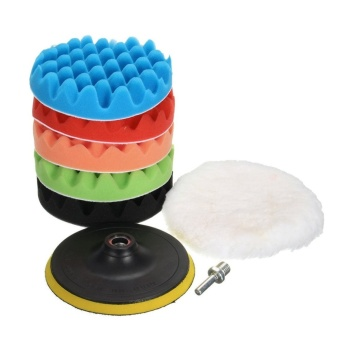 8Pcs 6inches Car Polishing Waxing Set Sponge Buffing Pad AccessoryAutomobile Polisher Buffer Kit Compound with M14 Drill Adapter Kit- intl