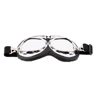 Silver Anti-UV Safety Motorcycle Scooter Pilot Goggles Helmet Glasses Motocross