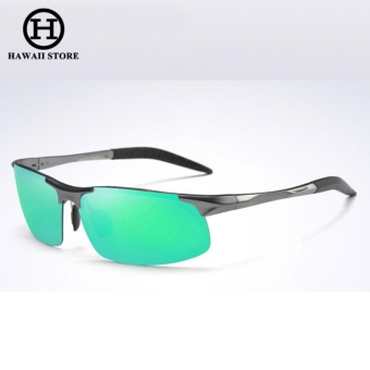 Aluminum Magnesium Alloy Polarized Sunglass For Men Outdoor Sport Driving Male Sun Glasses Rectangle Rimless Shades (Grey Green) Price Philippines