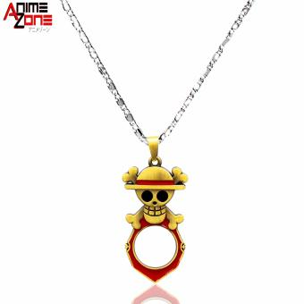 ANIME ZONE Straw Hat Pirate One Piece Fashionable Pendant Necklace with Bottle Opener (Silver)