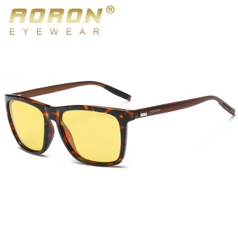 AORON Night Vision Polarized Sunglasses Men and Women Luxury Night Driving Goggles Unisex UV400 HD Anti Glare Sun Glasses N-6108 - intl