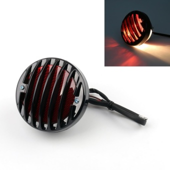 Areyourshop Round Motorcycle Tail Brake Light for Harley BobberChopper Rat Custom Black - intl