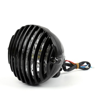 Areyourshop Scalloped LED Headlight Fog Light Finned Grill For Harley Bobber Chopper Black - intl