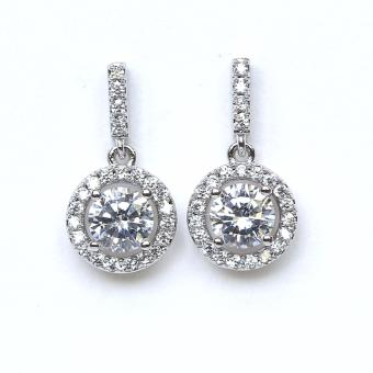 Athena & Co. 18k White Gold Plated Diamond Halo Drop Earrings
