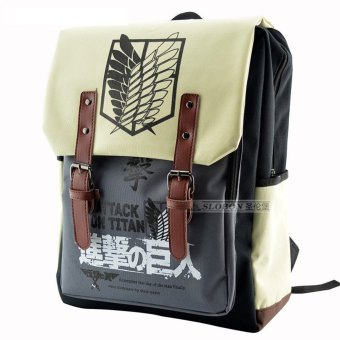 Backpacks Large Capacity Attack on Titan Backpack Canvas Rucksack Anime Book Bag Laptop Bag - Intl Price Philippines