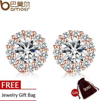 BAMOER Romantic Genuine 18K Gold Plated Round Stud Earrings withAAA Zircon For Women Jewelry Gift JIE054