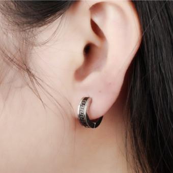 Hoop Earrings Stainless Steel Black For Men Earring Jewelry Great Wall