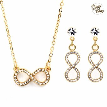 Bling Bling Infinity Earrings and Necklace Jewelry Set (Gold)