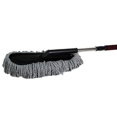 car microfiber brush detail duster extendable for interior andexterior telescope handle-grey