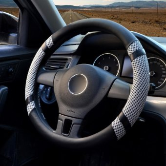 Car Steering Wheel Covers,Diameter 15 inch,PU Leather,for Summer,gray - intl