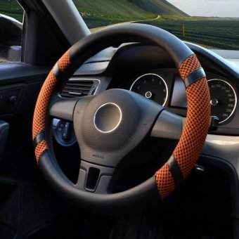 Car Steering Wheel Covers,Diameter 15 inch,PU Leather,for Summer,orange M - intl