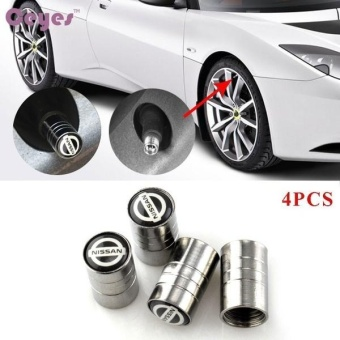 Car Wheel Tire Valves Tyre Stem Air Caps Cover case for Nissanqashqai juke x-trail tiida Emblem Auto Accessories Car-styingStainless Steel 4pcs/set - intl