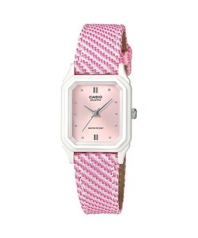 Casio Women's Pink/White Leather Strap Watch LQ-142LB-4A2DF