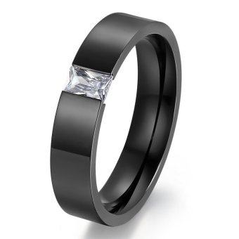 Classic Crystal Wedding Rings for Women Men Austrian Stone Gold& Black Anel Jewelry - INTL