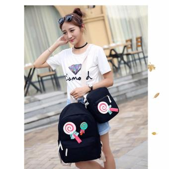 Clearance Sale !!! Pilot 9008 Korean Sweet Lollipop Style 2 Piece Oxford Canvas Sweet Lollipop Laptop Shoulder Bag Hand Pouch Casual Backpack Bag(Black)