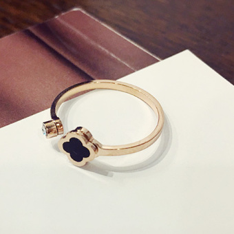 Cool Japan and South Korea female tail ring finger ring (Open flower-gold)
