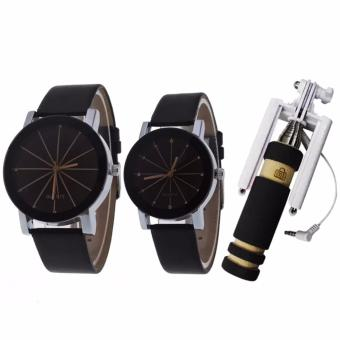 Couple Black Leather Strap Watch (Black) and with E-703 Mini Monopod (color may vary)